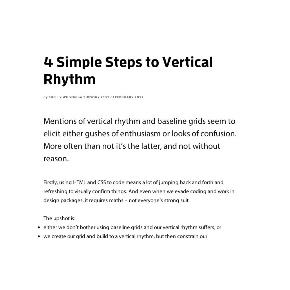Example of vertical rhythm – Typecast Case Study