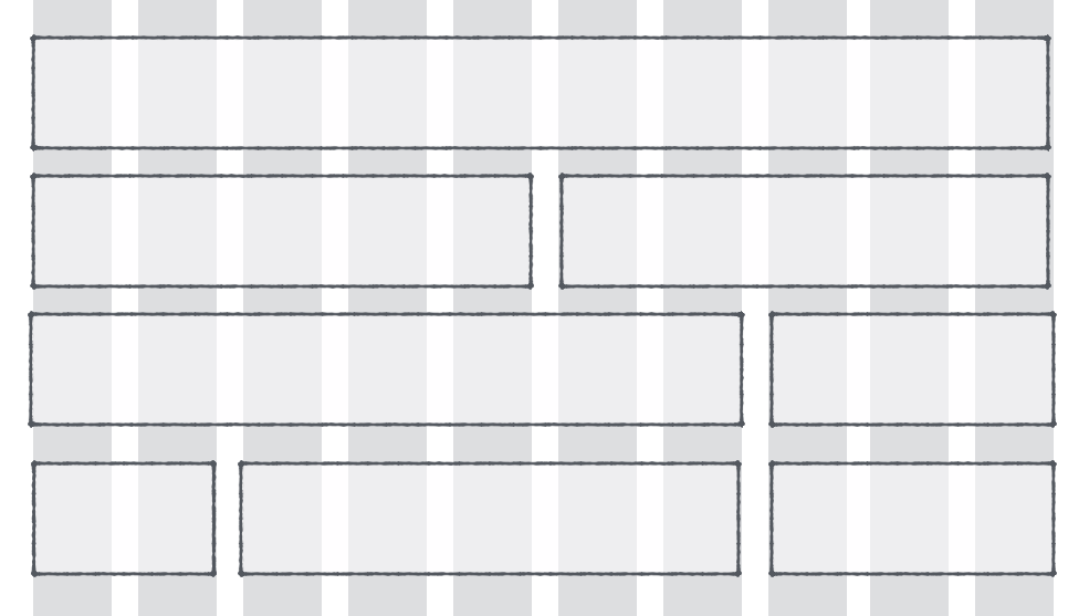 Possible layouts of a website on a 10-column grid