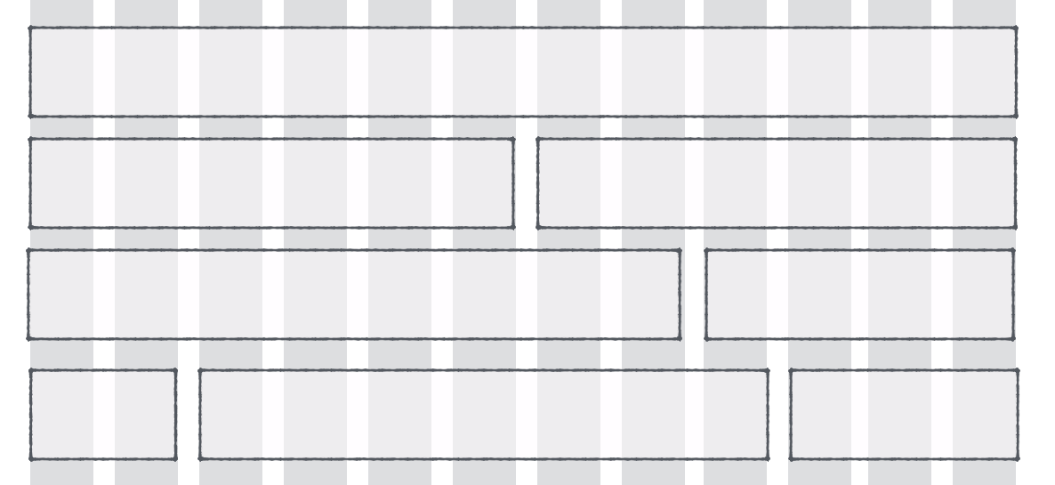 Possible layouts of a website on a 12-column grid