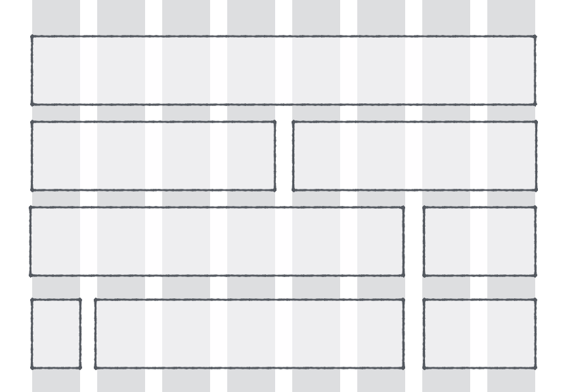 Possible layouts of a website on a 8-column grid
