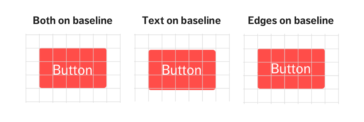 Variations of placing a button on a baseline