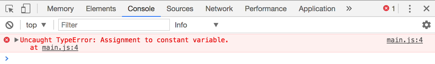 Reassigning a variable declared with const results in an error