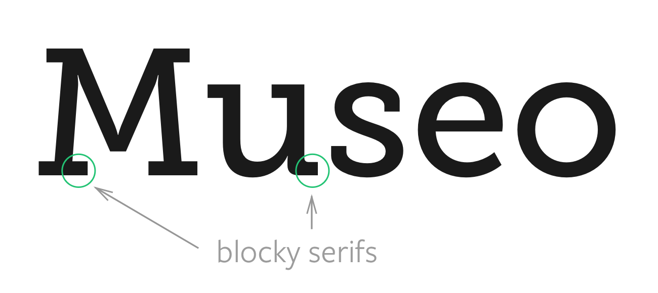 Image of Museo Slab typeface that contains blocky serifs