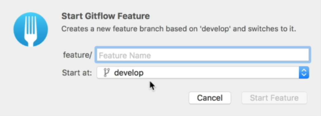 Fork will start the feature from the develop branch. You can change it though