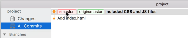 Git History shows `master` and `origin/master` on the same commit