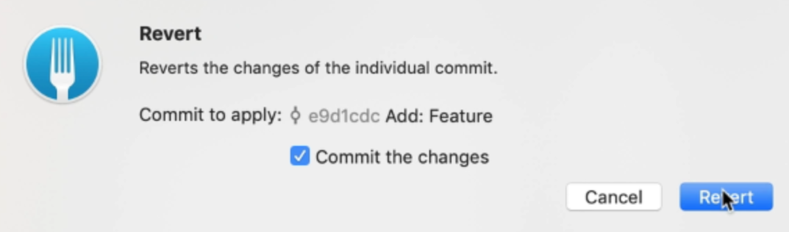 Commit the changes option is checked