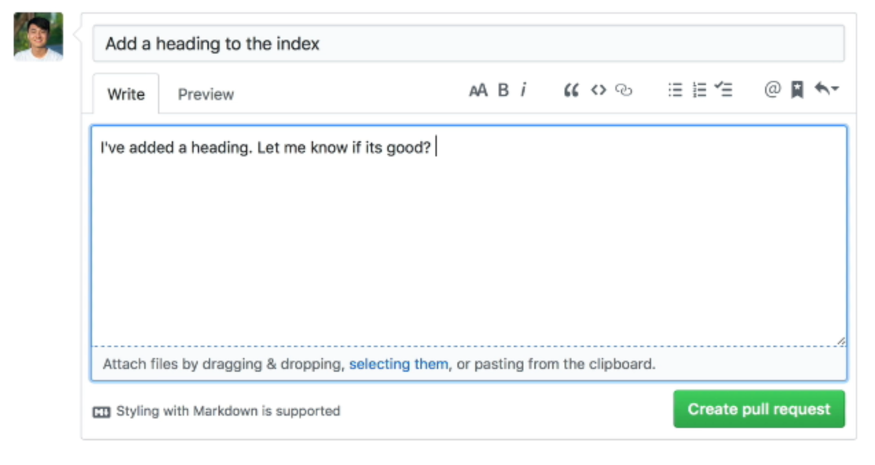 Setting title and comments fro the pull request