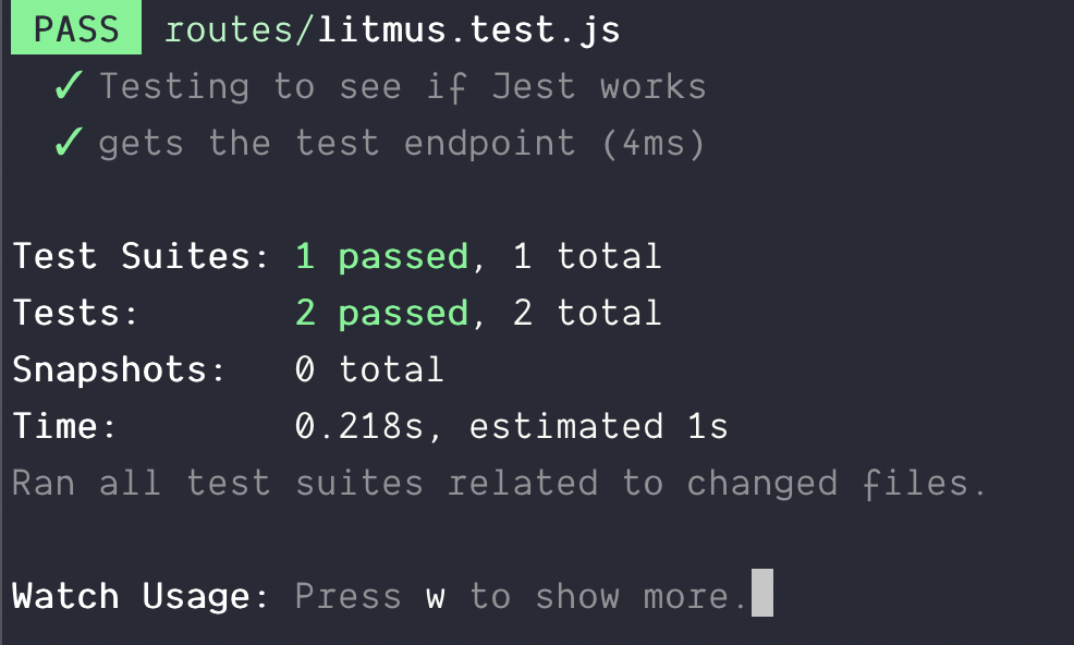 First endpoint test passes.