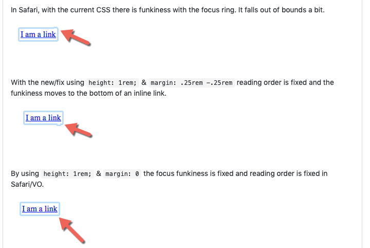 An image detailing the experiments done by Joe Watkin on how CSS affects focus rings