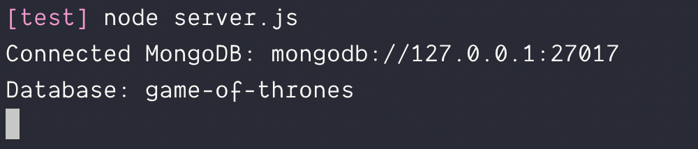 Connected to local MongoDB with MongoDB native driver.
