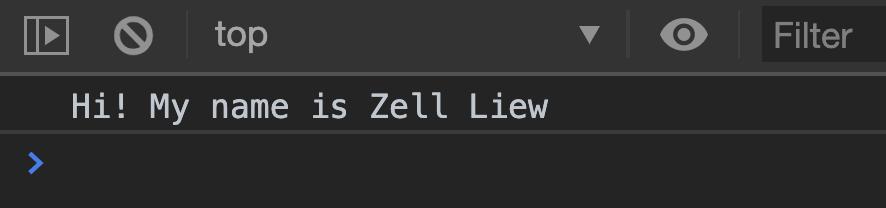 Zell dice hola.