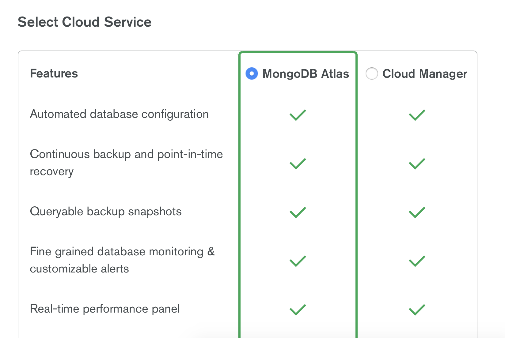 Selects a cloud service.