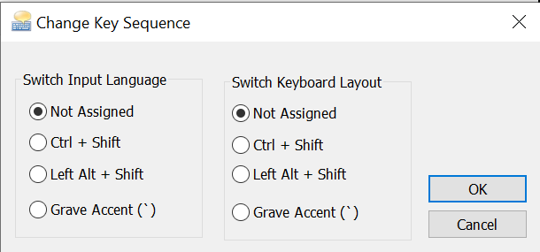 Disabled language switching shortcuts.