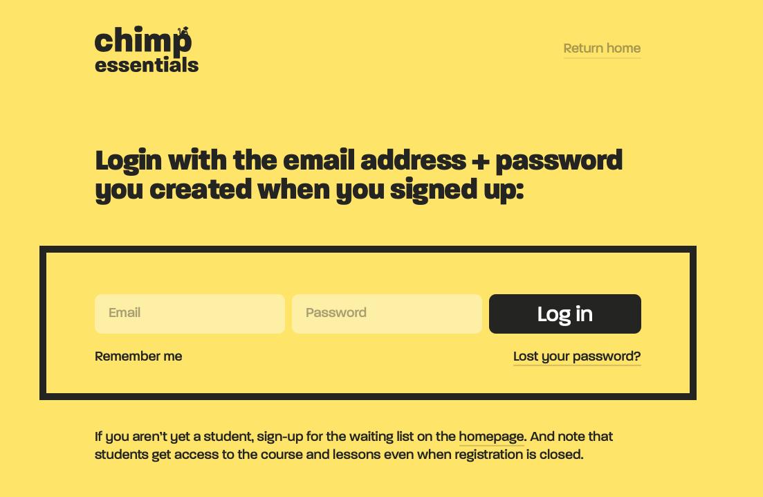 Chimp Essentials login form design.