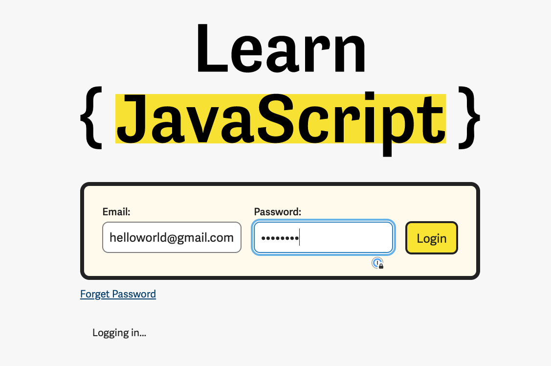 Example of the login status message.