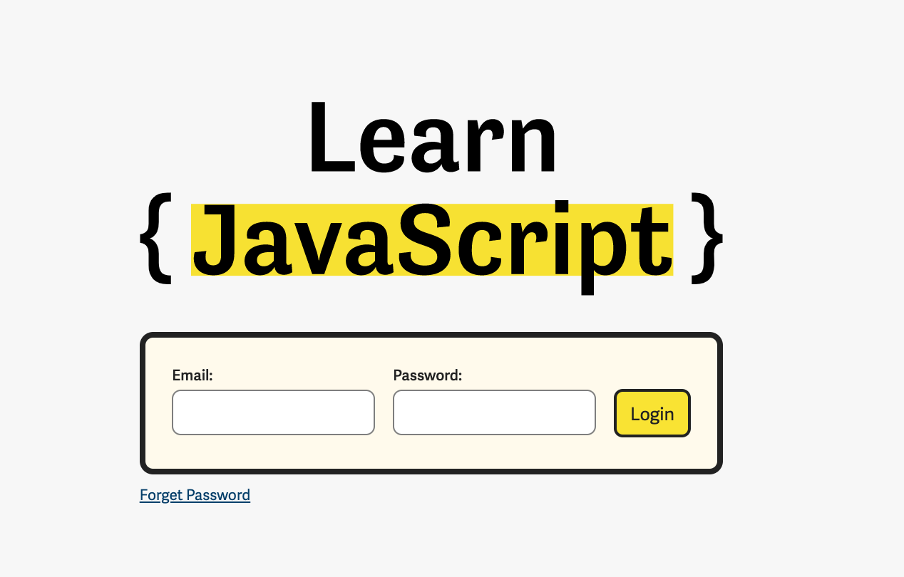 Learn JavaScript login page.