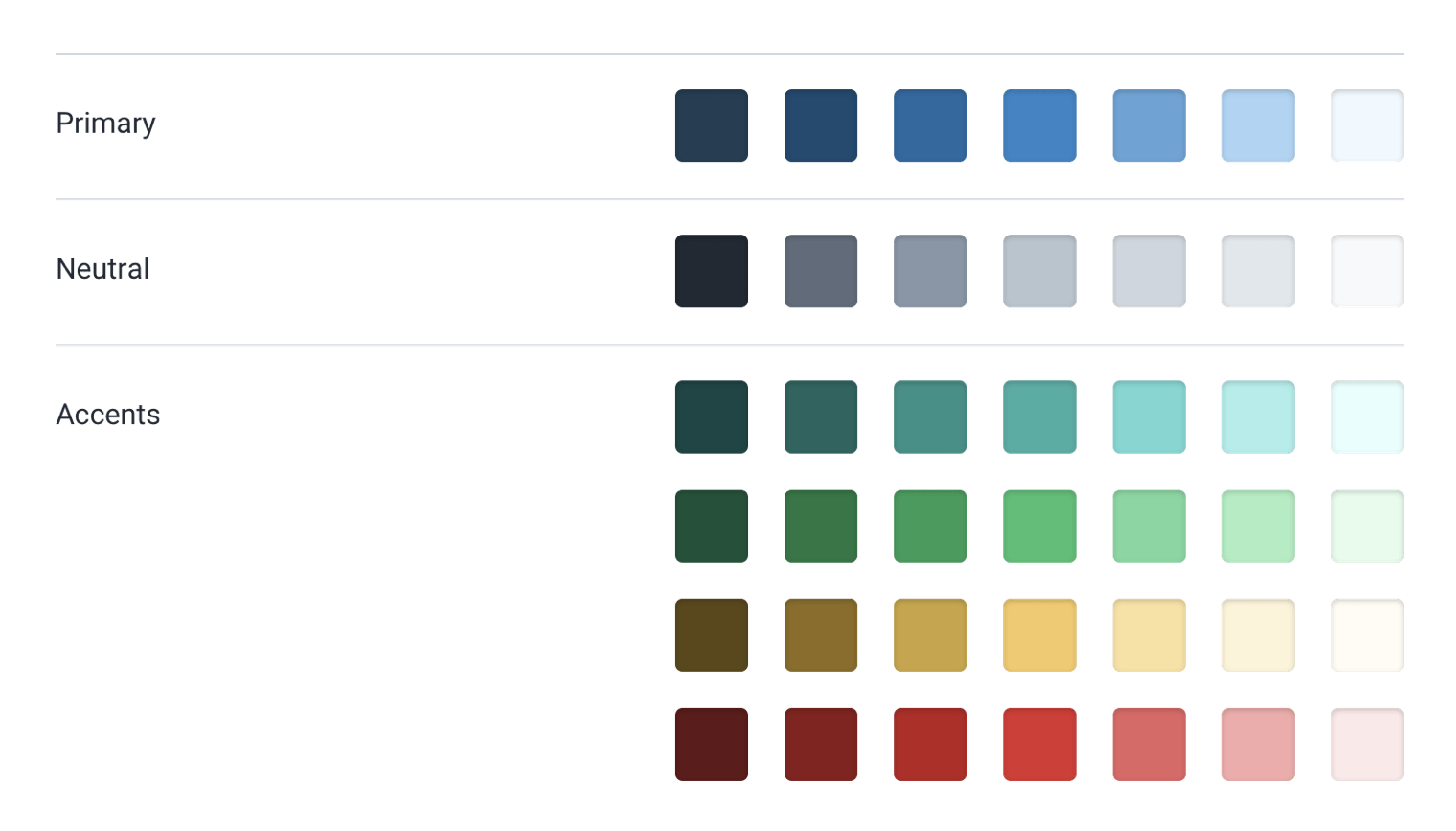 9 shades of 6 different colors.