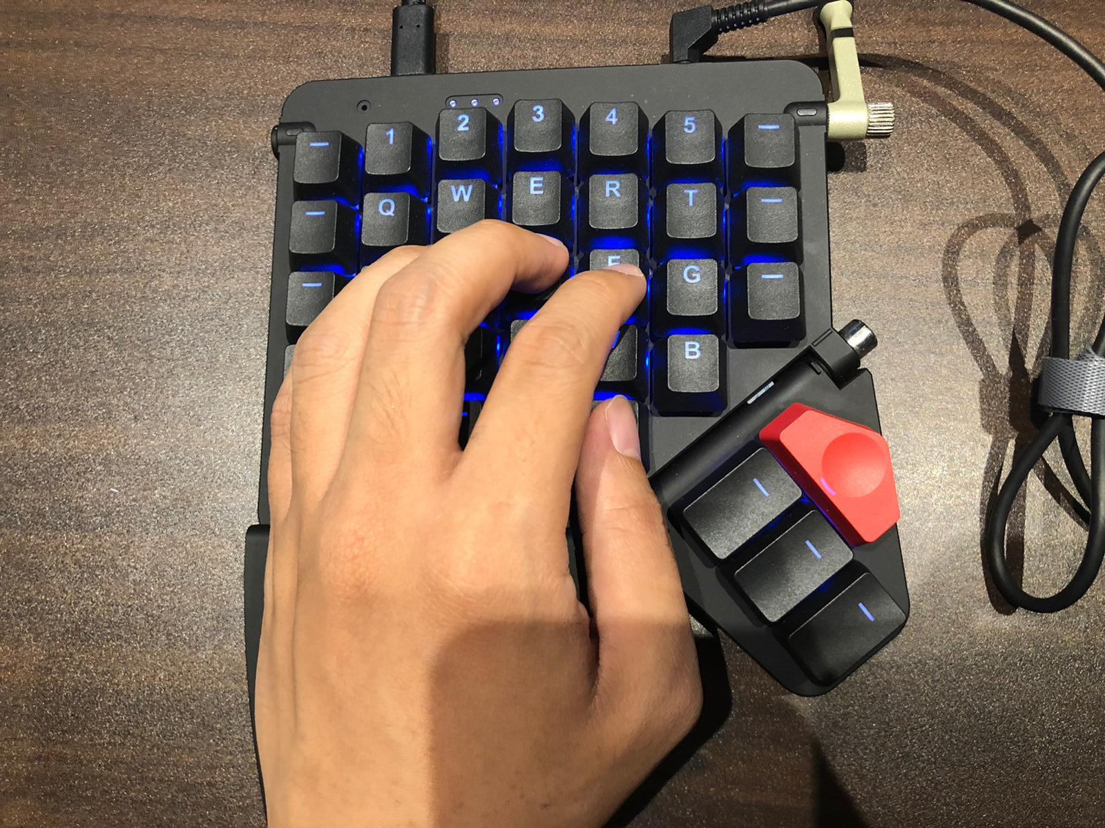 Hands placed on the command key.