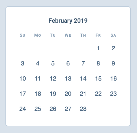Calendar built with CSS Grid.