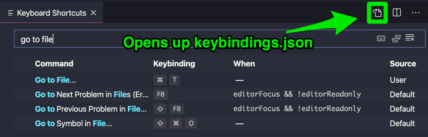 Green arrow pointing to an icon that opens the keybindings.json file.