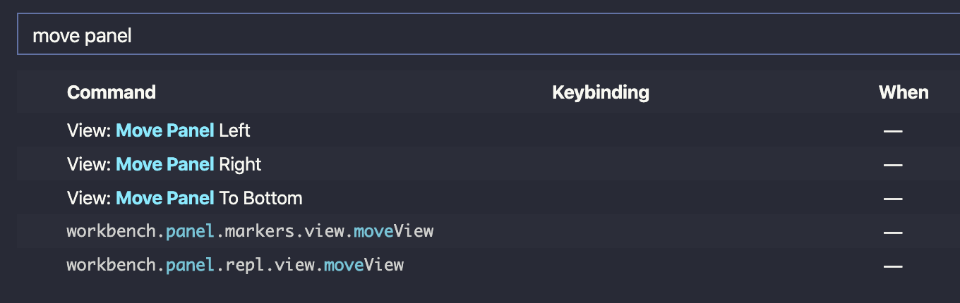 Searched for 'move panel' in Visual Studio Code keyboard shortcuts screen.