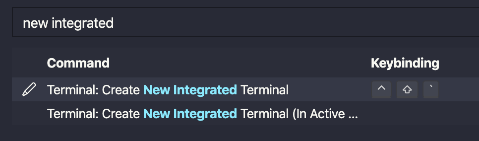 Searched for new integratde terminal in the keyboard shortcuts panel.