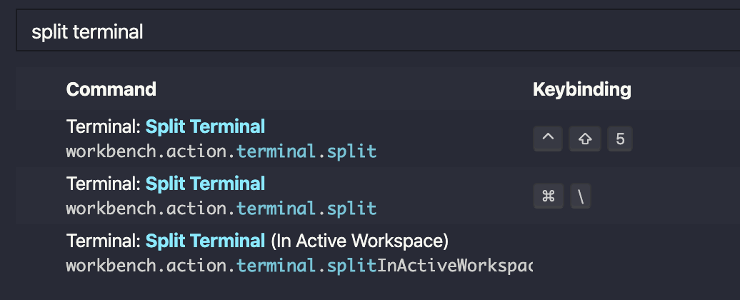Searched for split terminal in the keyboard shortcuts panel.