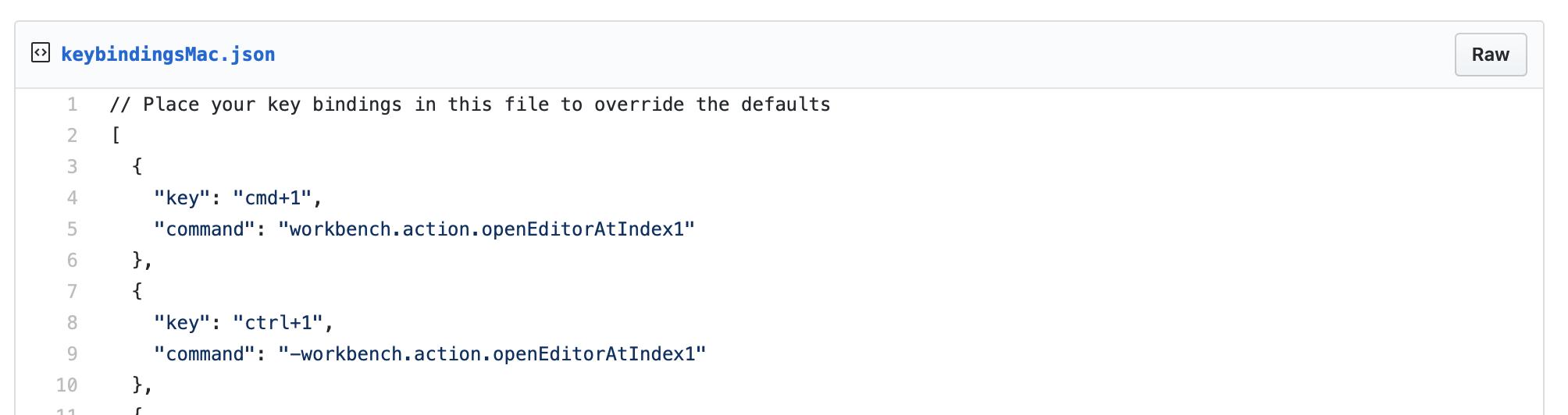 Los enlaces de teclas de Mac utilizan un archivo llamado keyBindingsMac.json