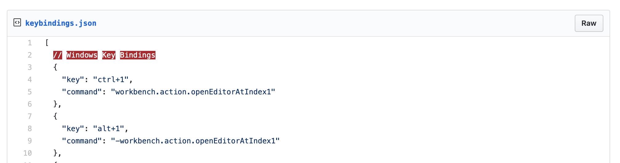Las combinaciones de teclas de Windows utilizan un archivo llamado keyBindings.json