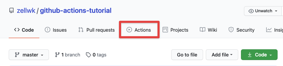 github actions tab location